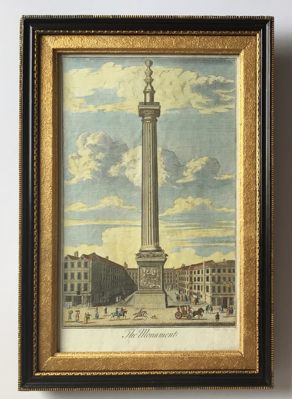 a georgian engraving print of the monument london 1739