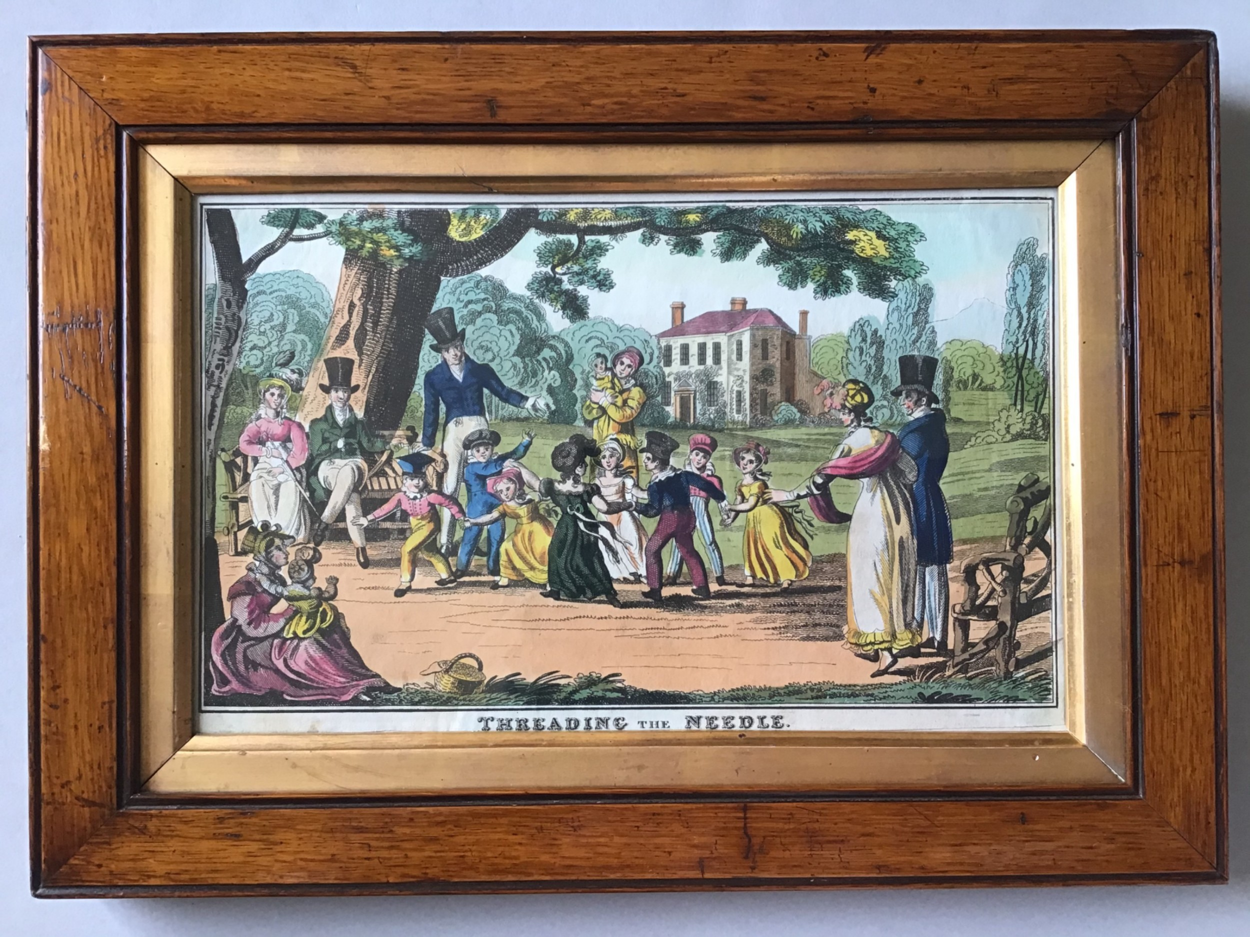 a victorian engraving print of children at play c1840