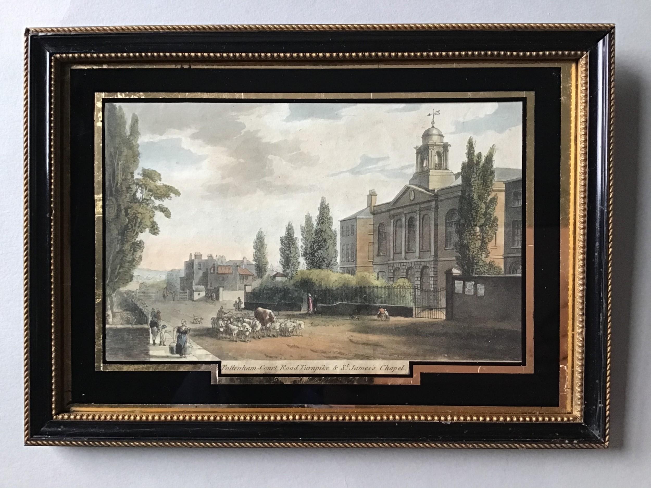 a georgian engraving print of tottenham court rd 1812