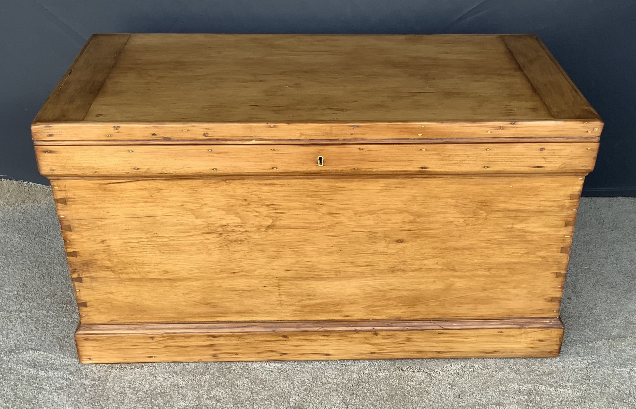 victorian pine antique blanket boxchest with candle box