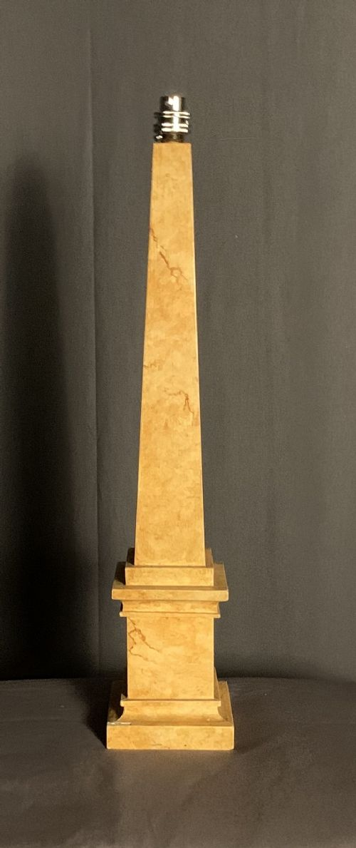 early twentieth century faux marble obelisk table lamp