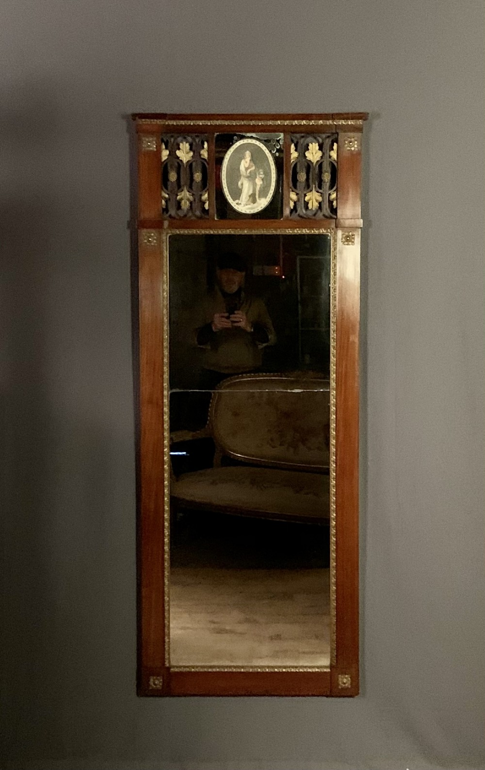 tall baltic biedermeier pier mirror mahogany and parcel gilt