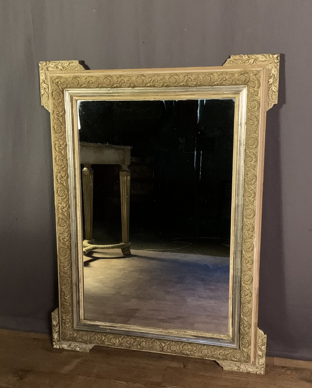 decorative french painted and silver gilt corner mirror