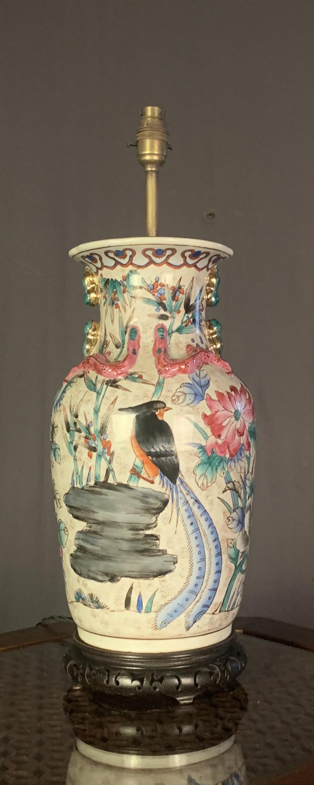 large early twentieth century chinese vase lamp