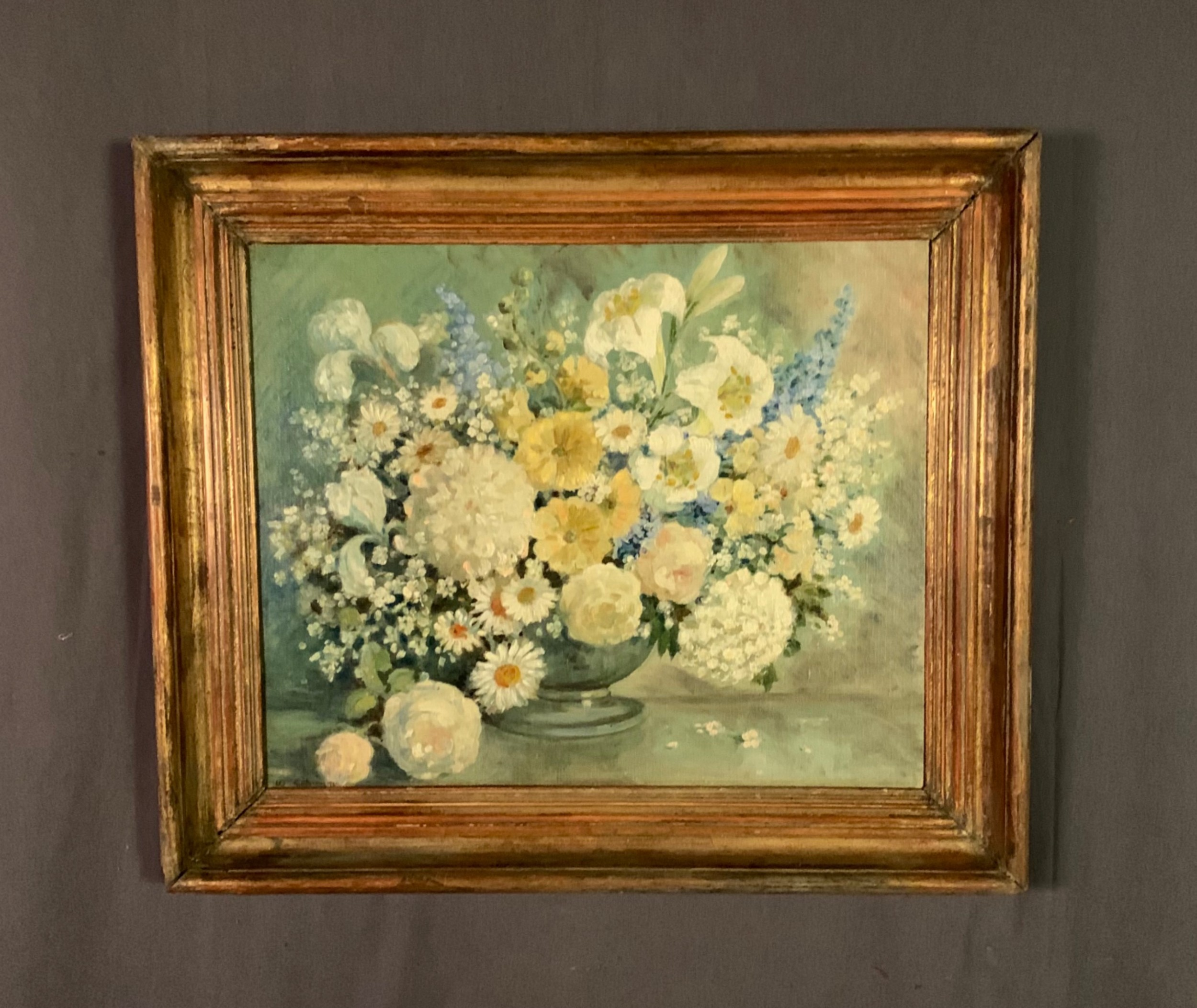 beautiful signed oil on canvas flowers in a vase