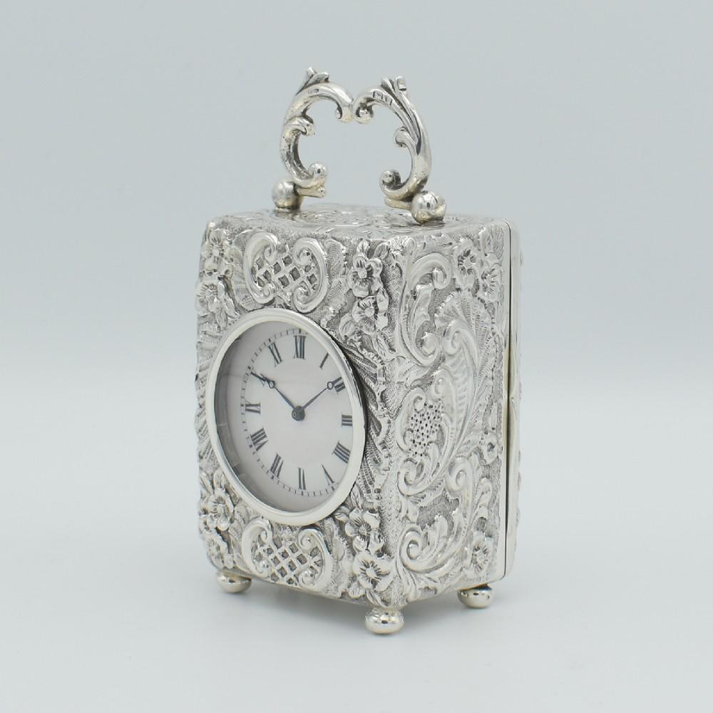 silver 'repousse' miniature carriage clocktimepiece