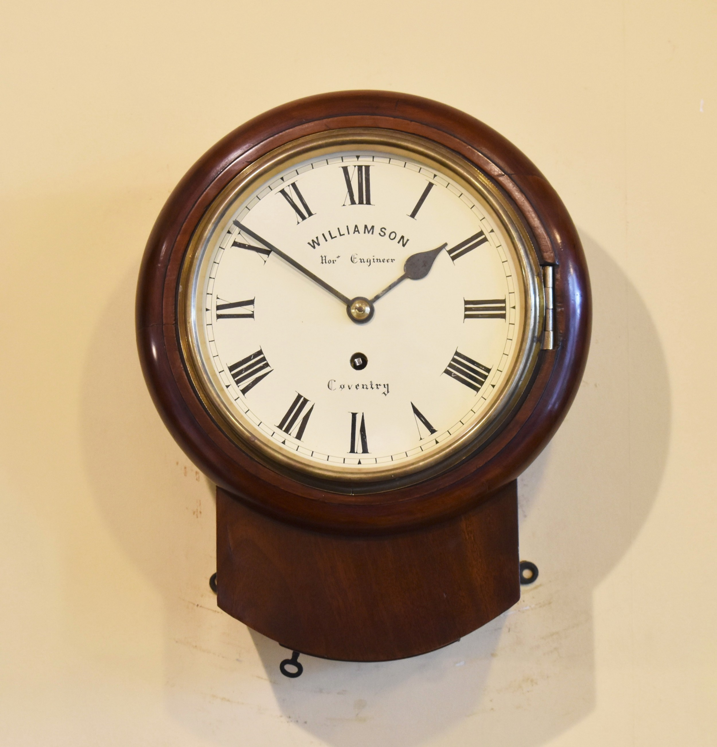 very small antique 'fusee' wall clock