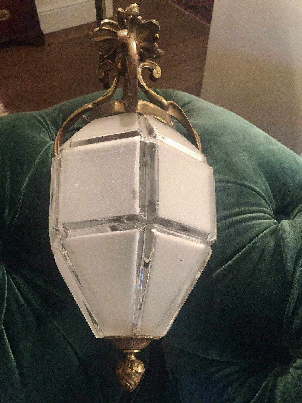 original edwardian lantern frosted glass and bronze