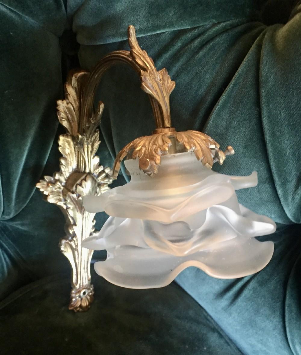single boudoir wall light bronze and pate de verre