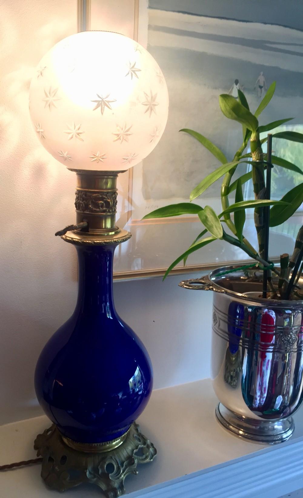 napoleon iii table lamp faence and bronze