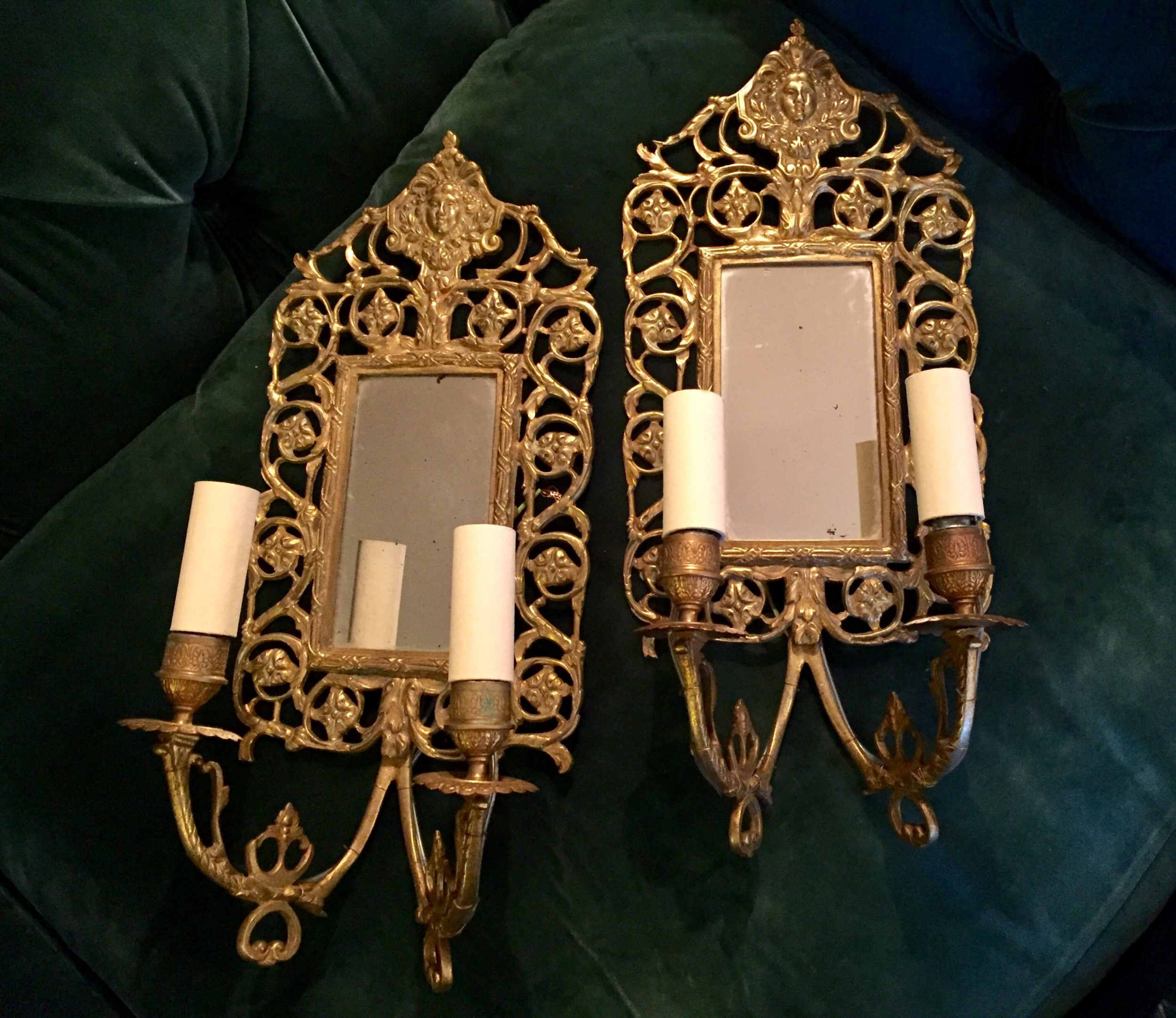 wonderful 19th century pair of wall lights bronze