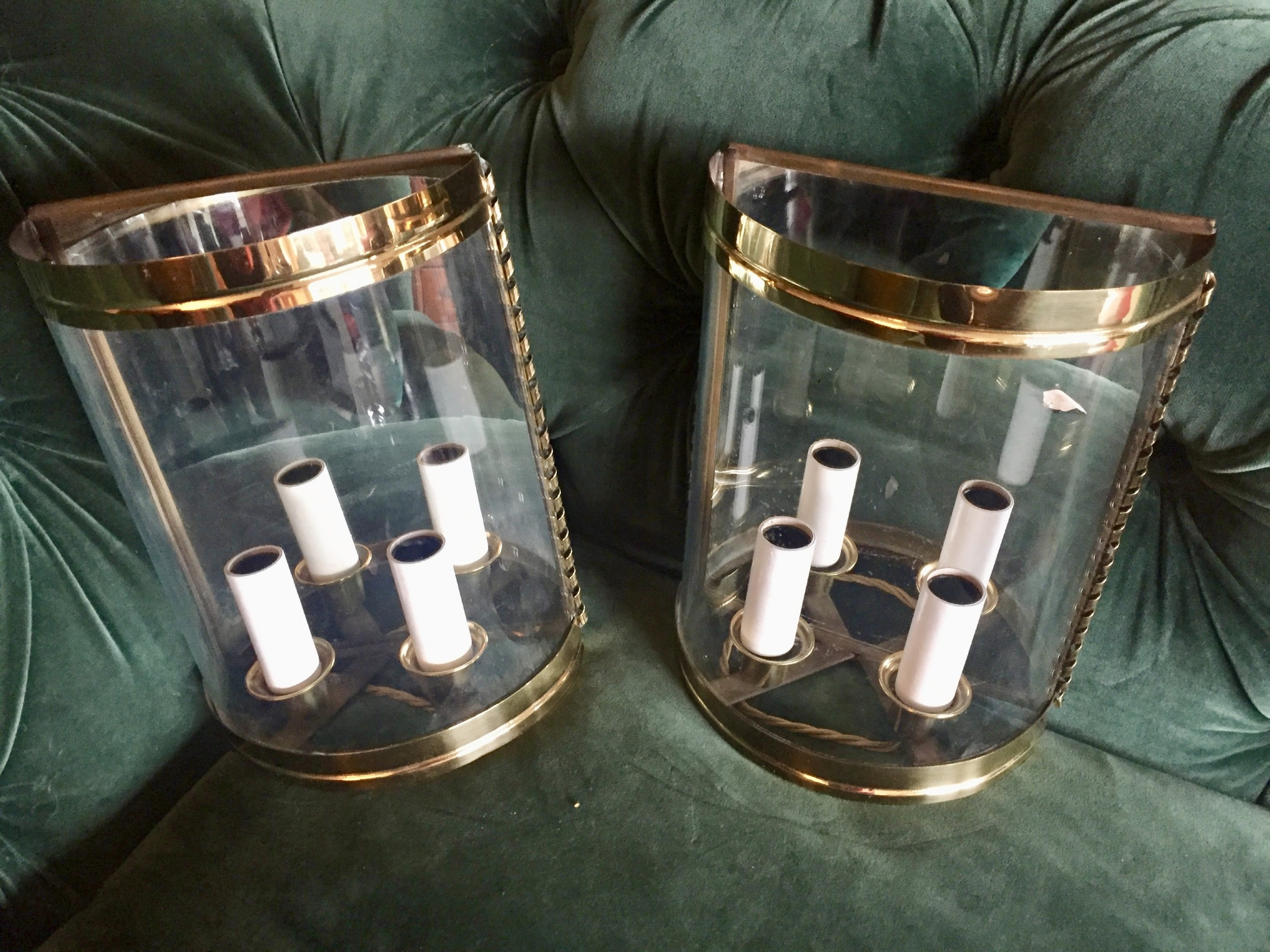 traditional pair art deco twin half wall lanterns mirror and brass
