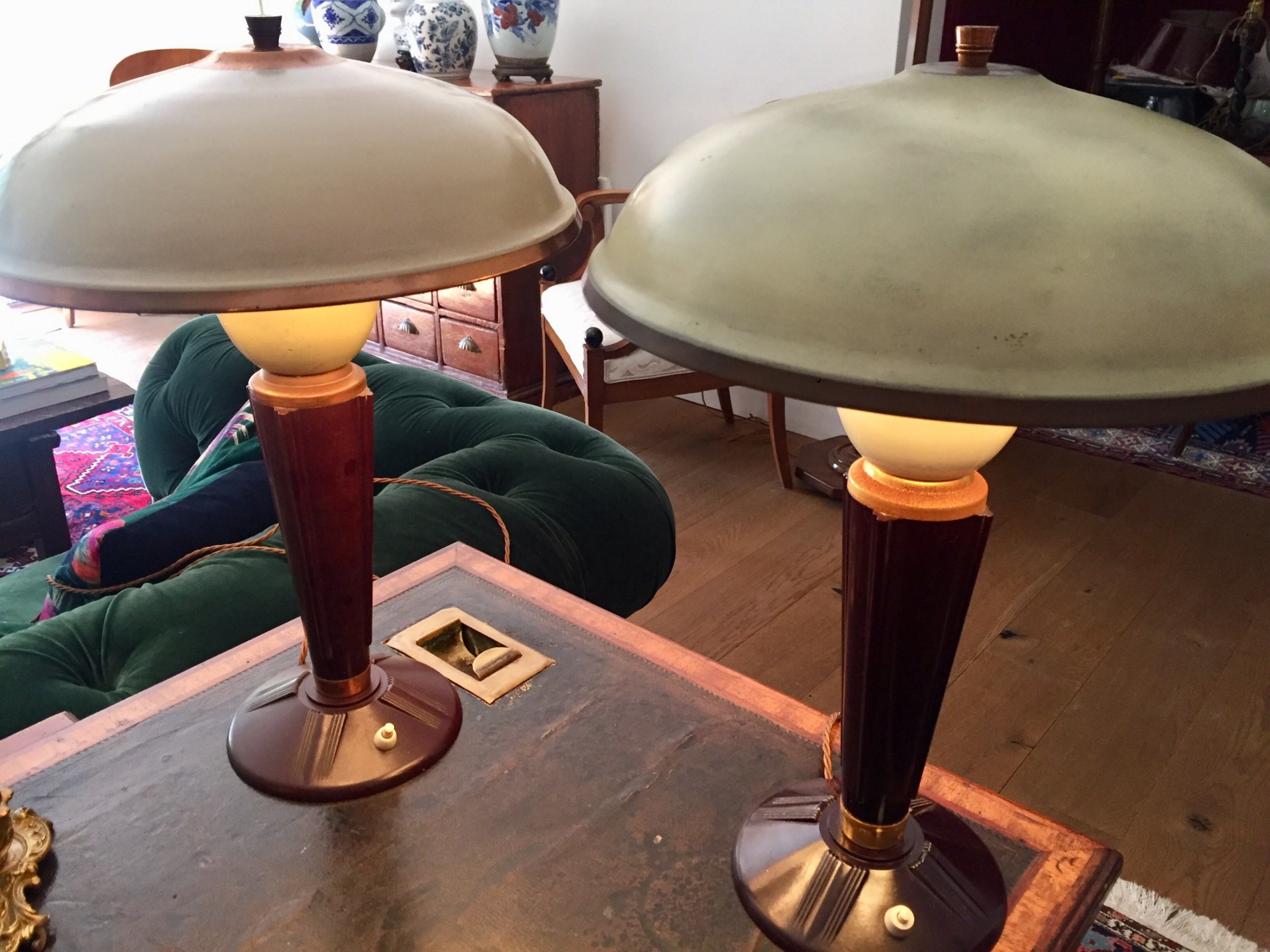 iconic near pair art deco jumo desk lamps bakelite