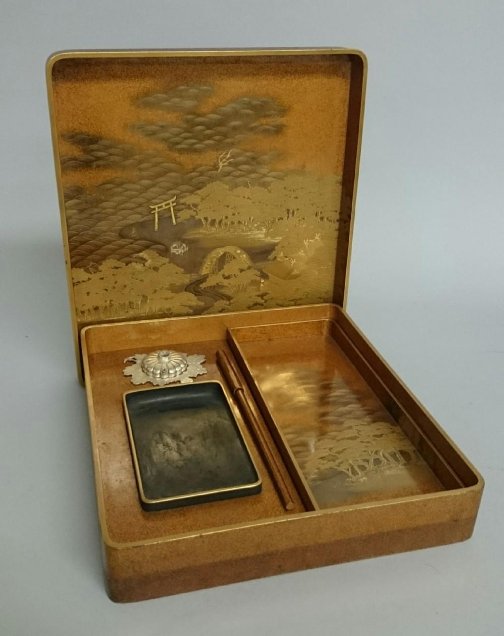 a fine quality japanese edomeiji period lacquer suzuribako