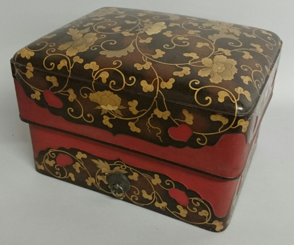 a large fine quality japanese edo period redcornered incense box and cover