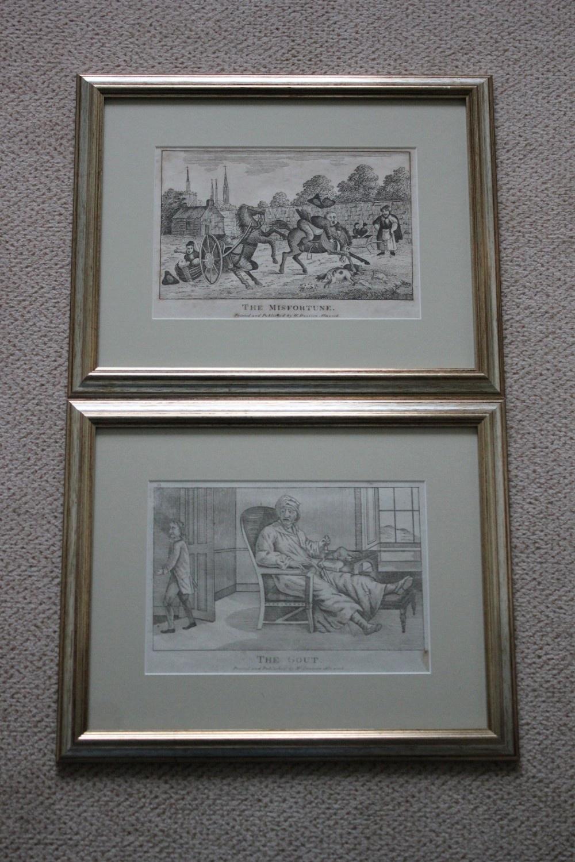 a pair of wiliam davison engravings gout misfortune circa 1812