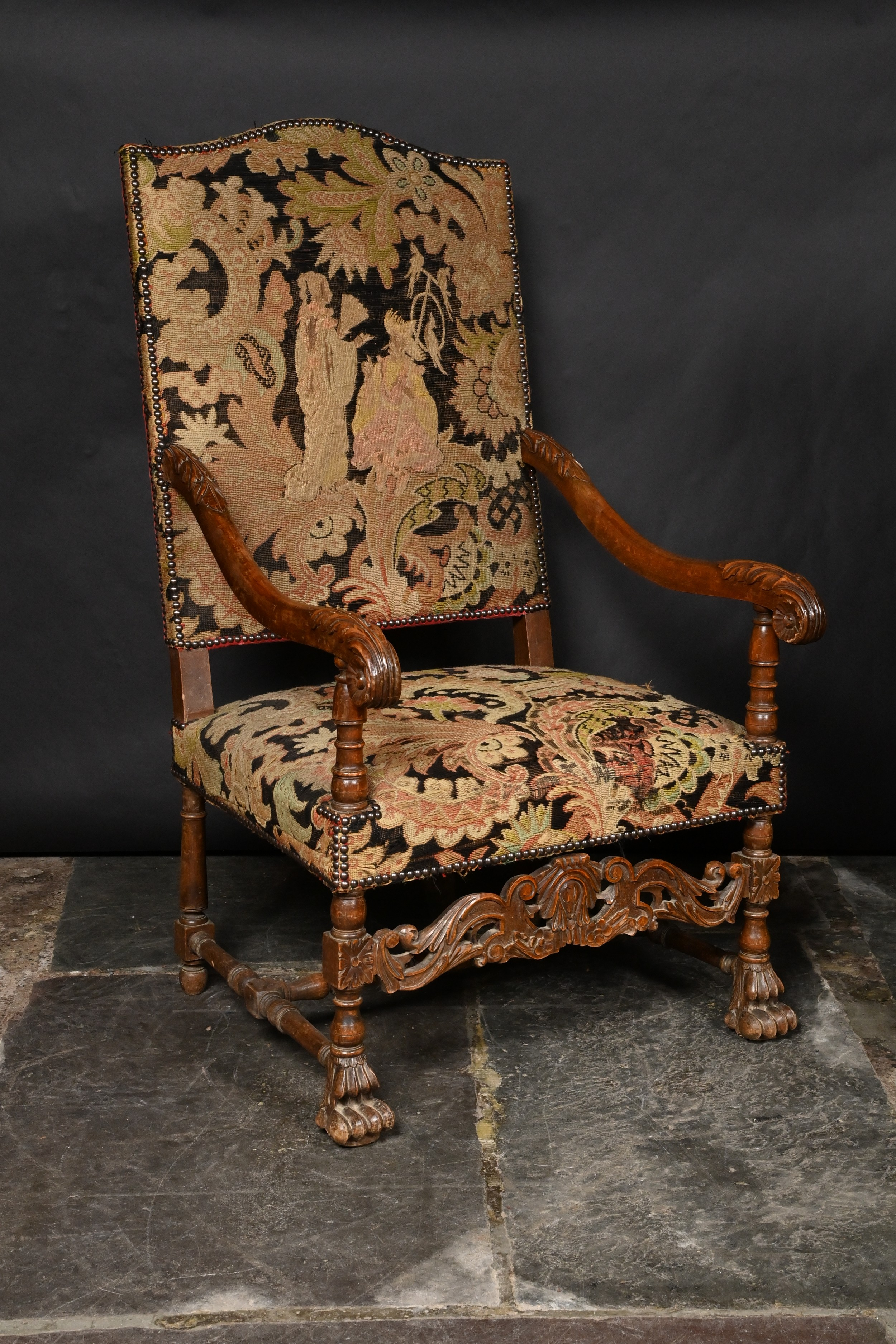 french tapestry petit point throne open armchair