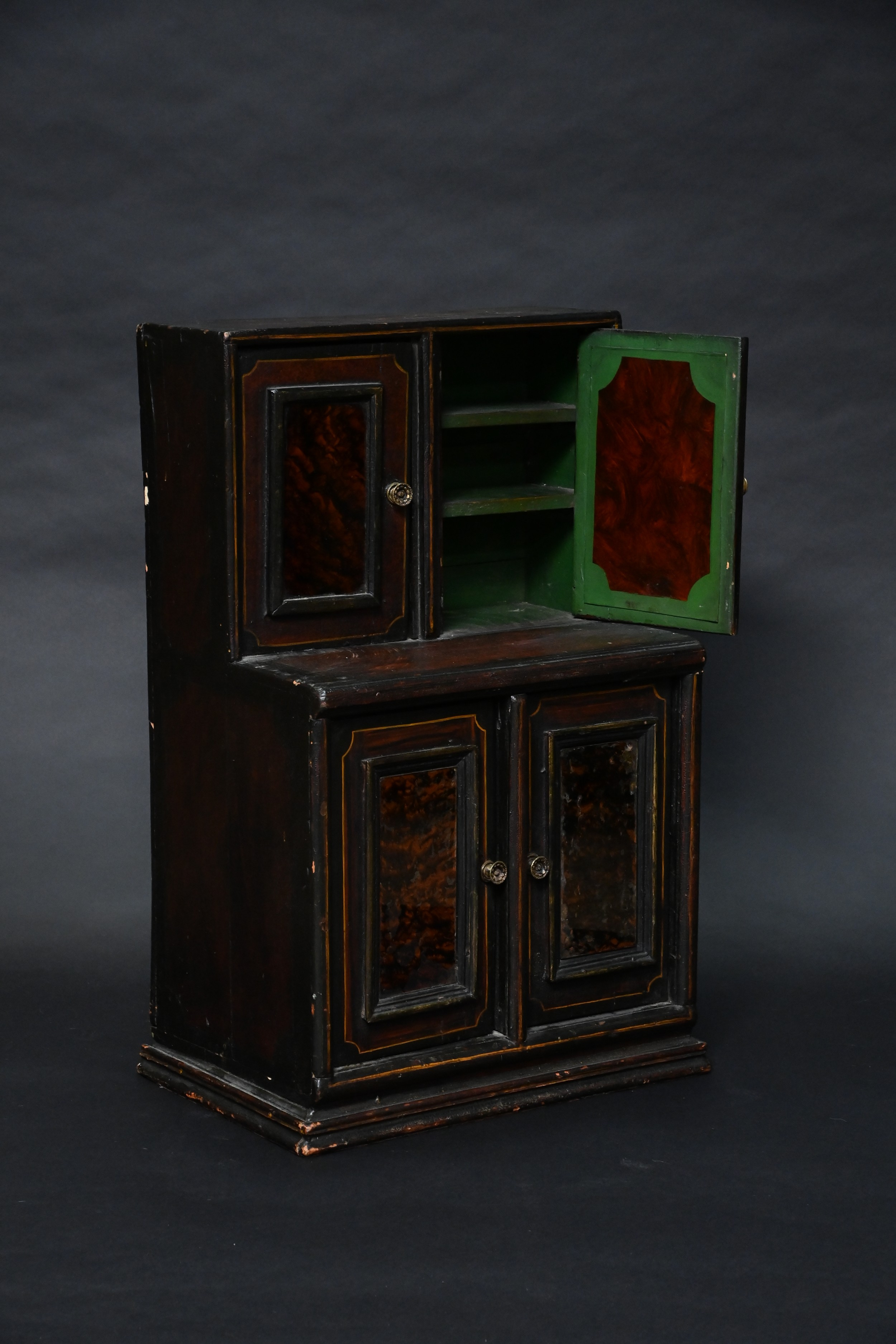 apothecary cabinet or smokers cabinet of stunning paint effects and tortoise shell glass beautiful green interior and panel art
