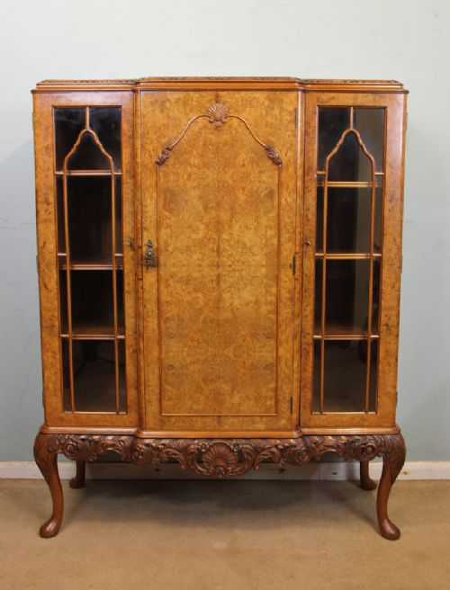 quality burr walnut bookcase queen anne style