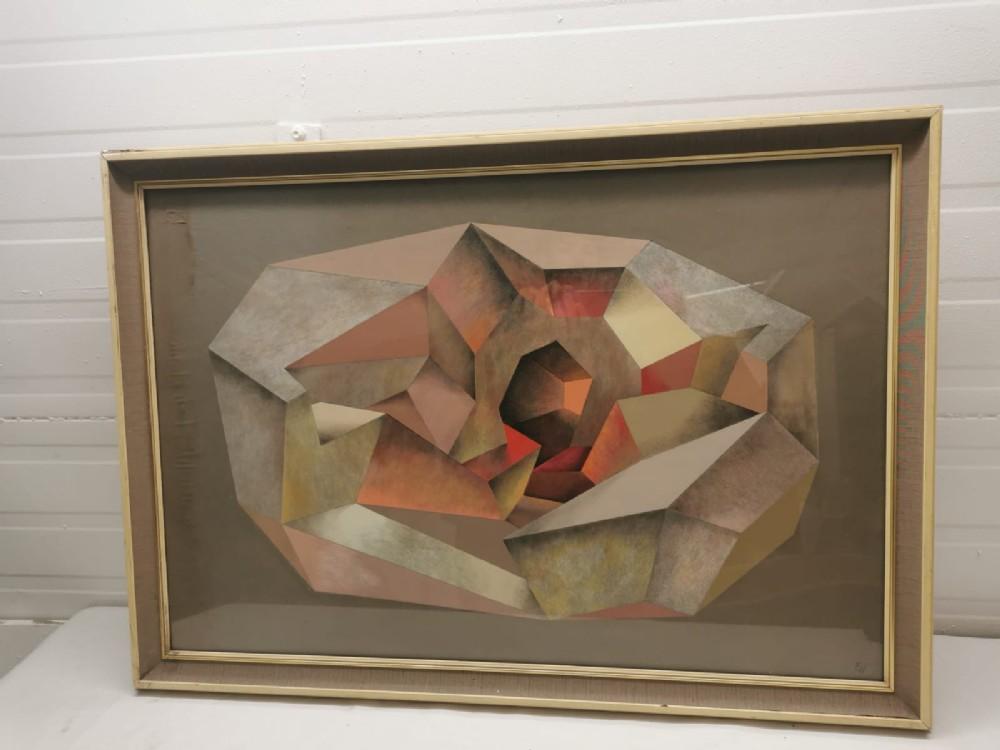 original signed cubist tempra painting