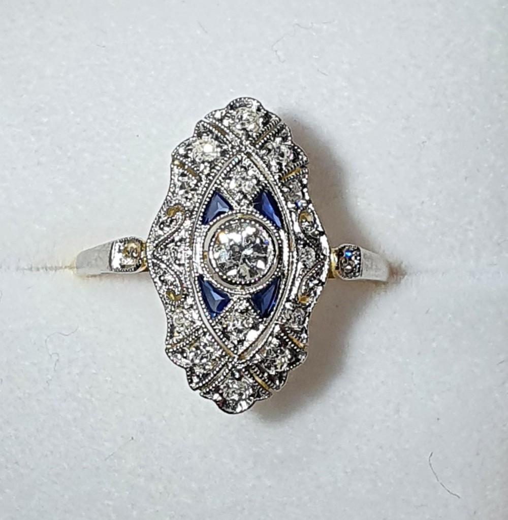 art deco period 14ct gold diamond sapphire ring size l12
