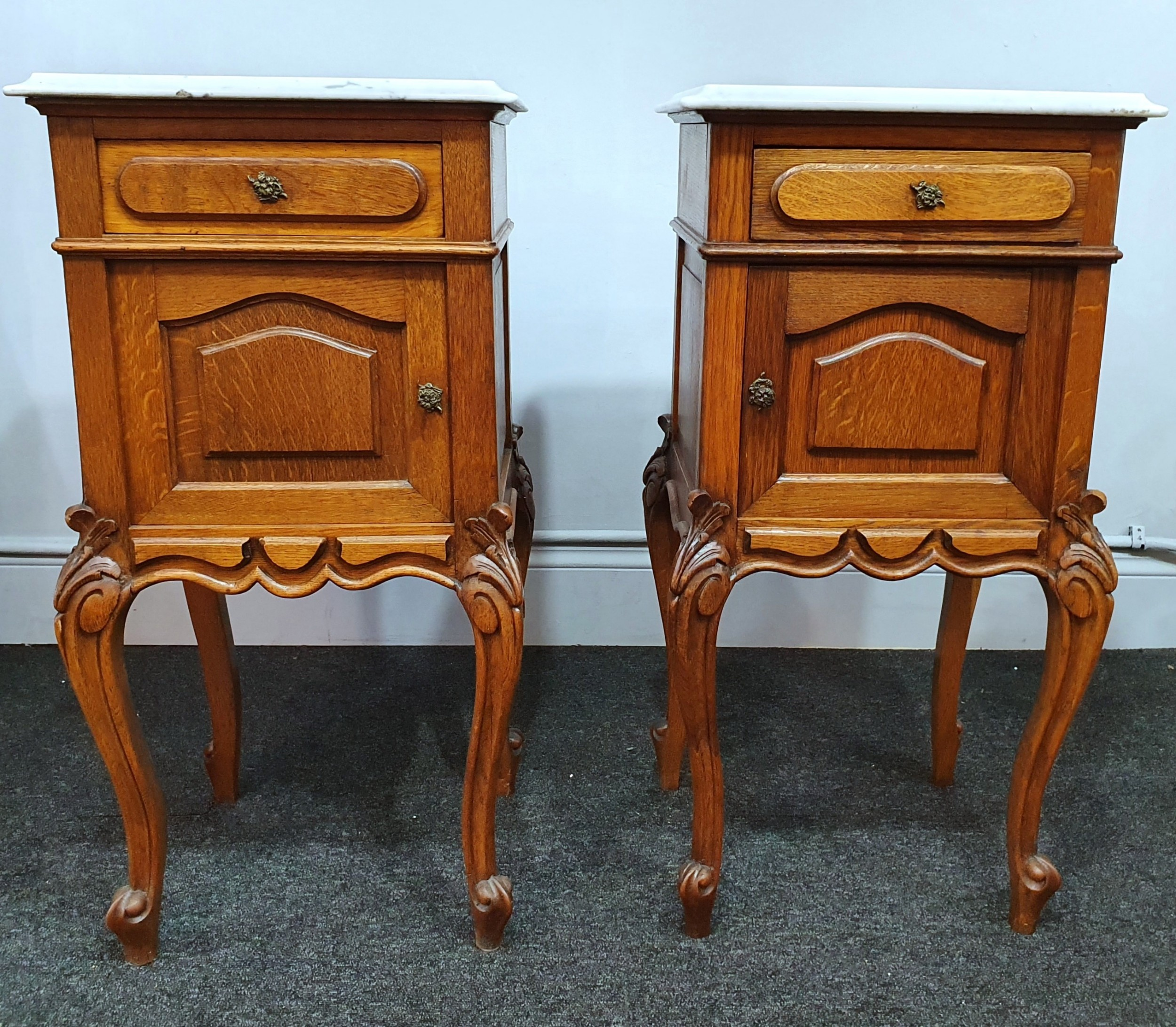 pair early 1900s french oak marble top bedside cabinets