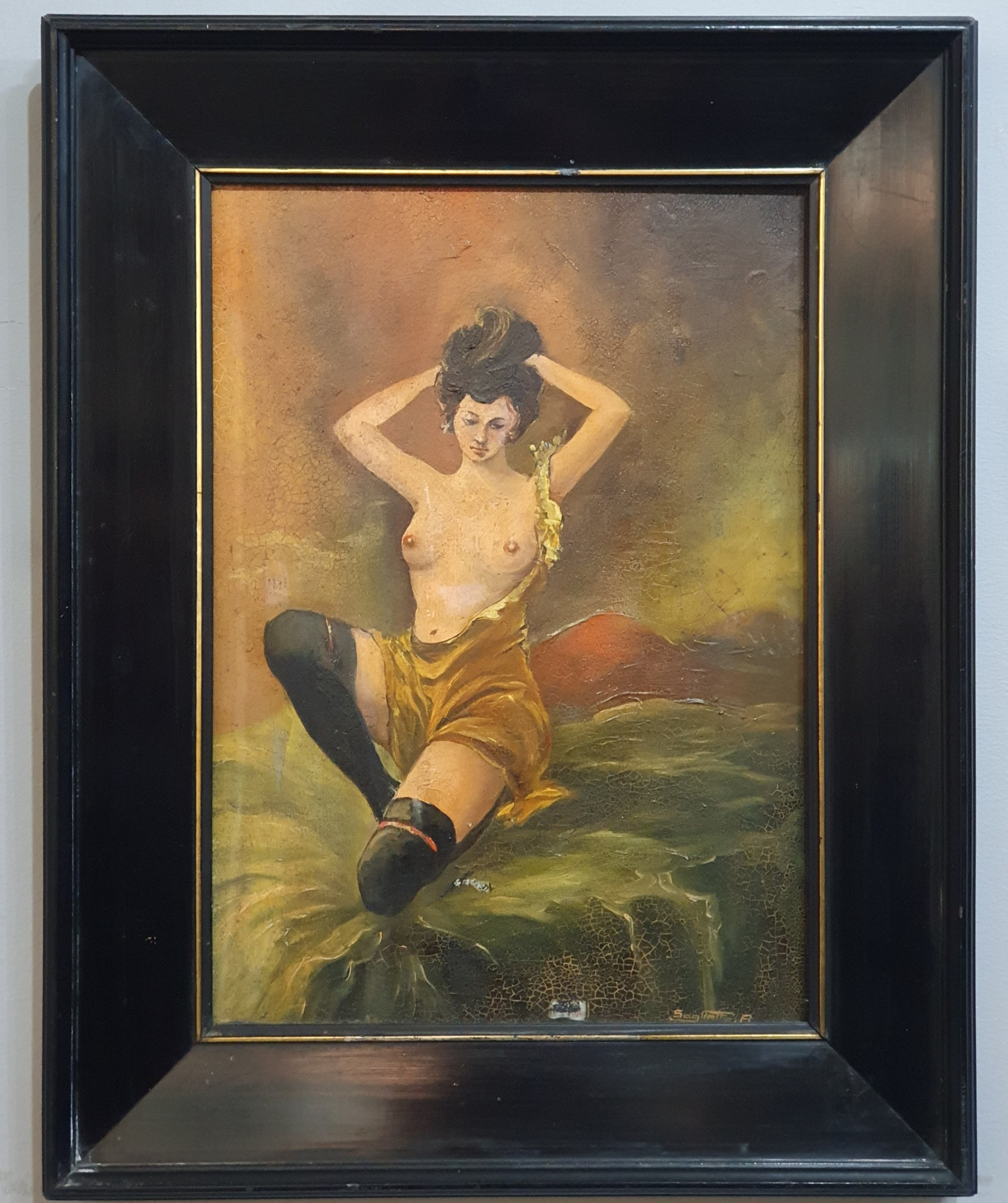 french art deco framed nude oil on panel c1920