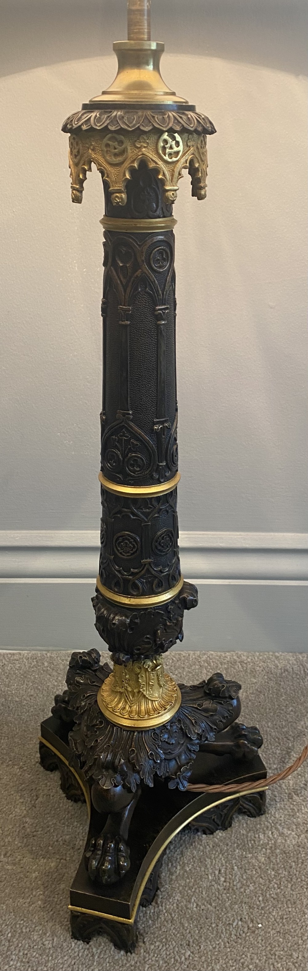 a french empire style bronze and ormolu table lamp
