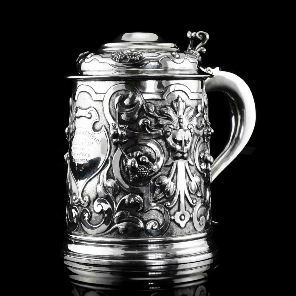 antique solid sterling silver large tankard with royal marines officer interest goldsmiths silversmiths co 1900
