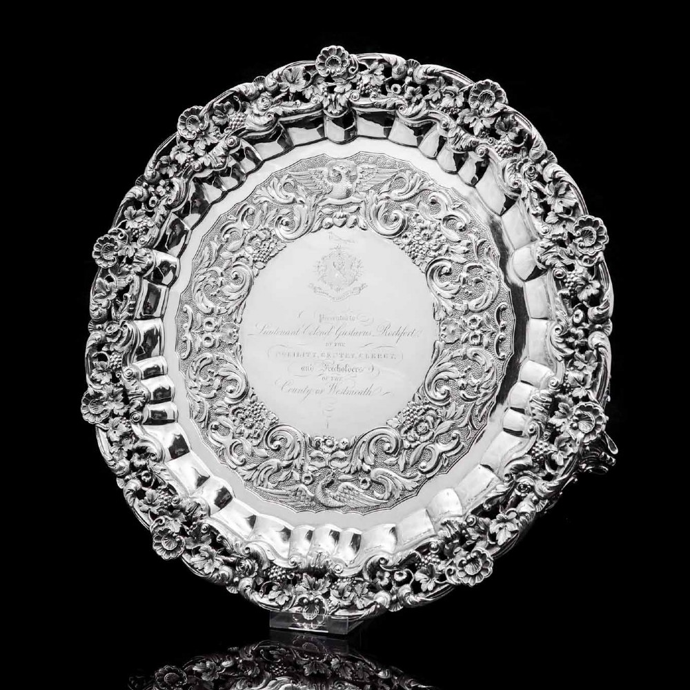 a magnificent georgian sterling silver traysalver with military lieutenant interest james fray 1833