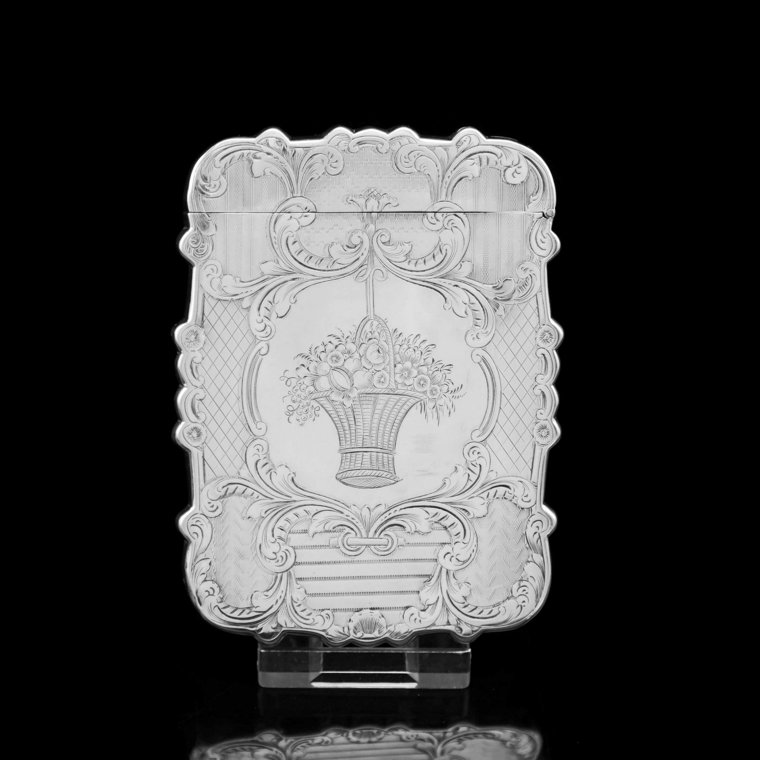 antique victorian solid silver card case with floral engravings taylor perry 1898