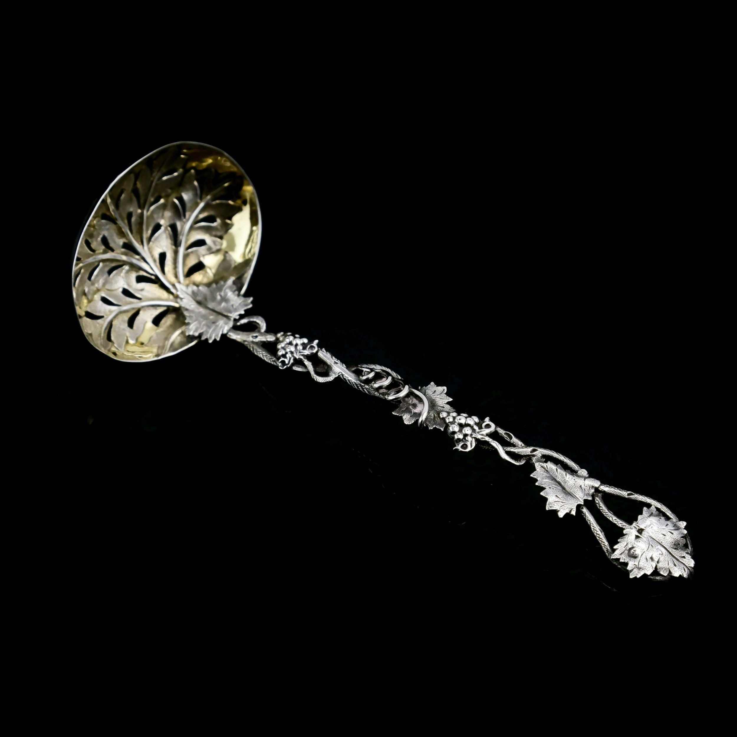 antique victorian solid sterling silver sugar sifter spoon with grape vine design taylor perry 1853