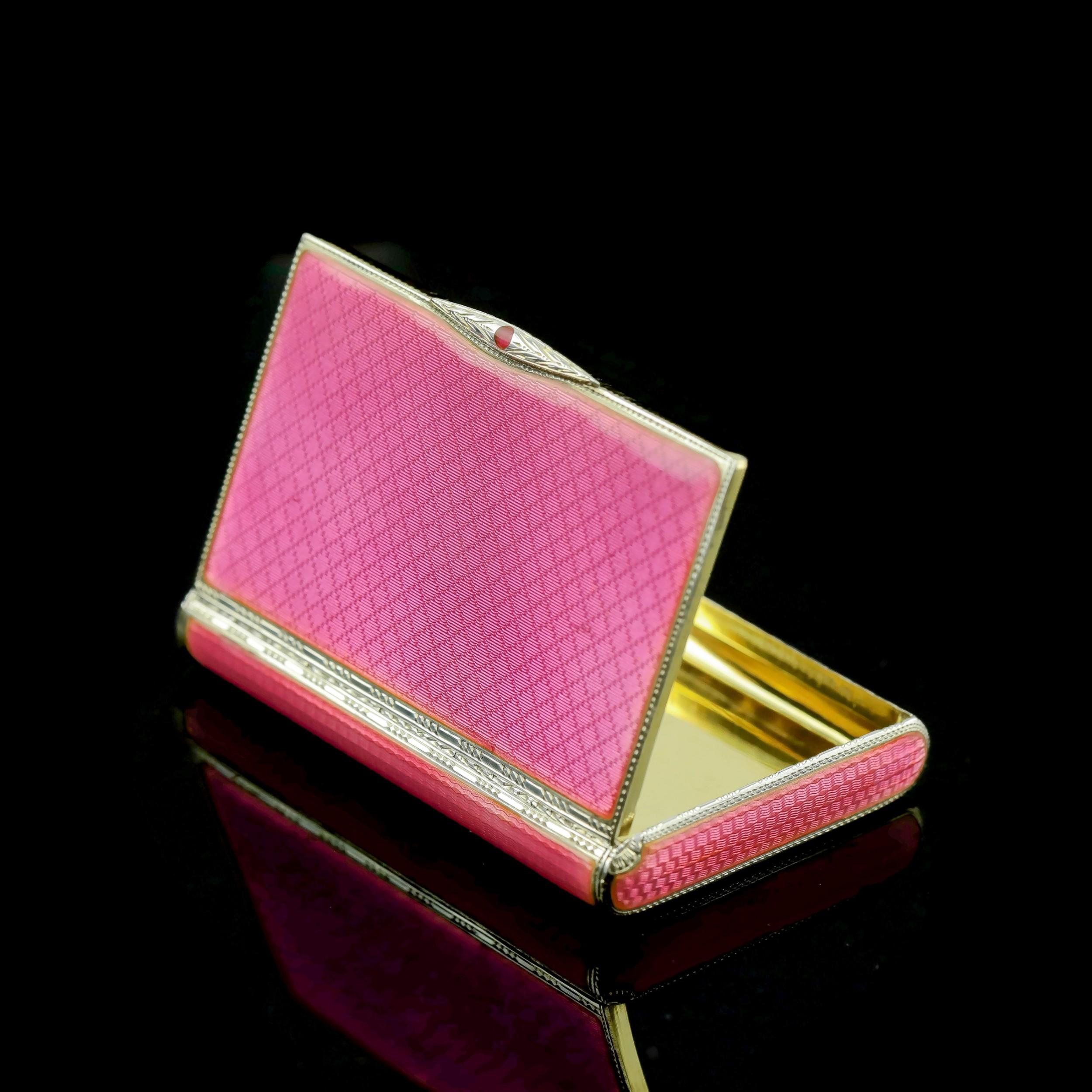 an english solid silver pink enamel snuffpill box pmv london 1926