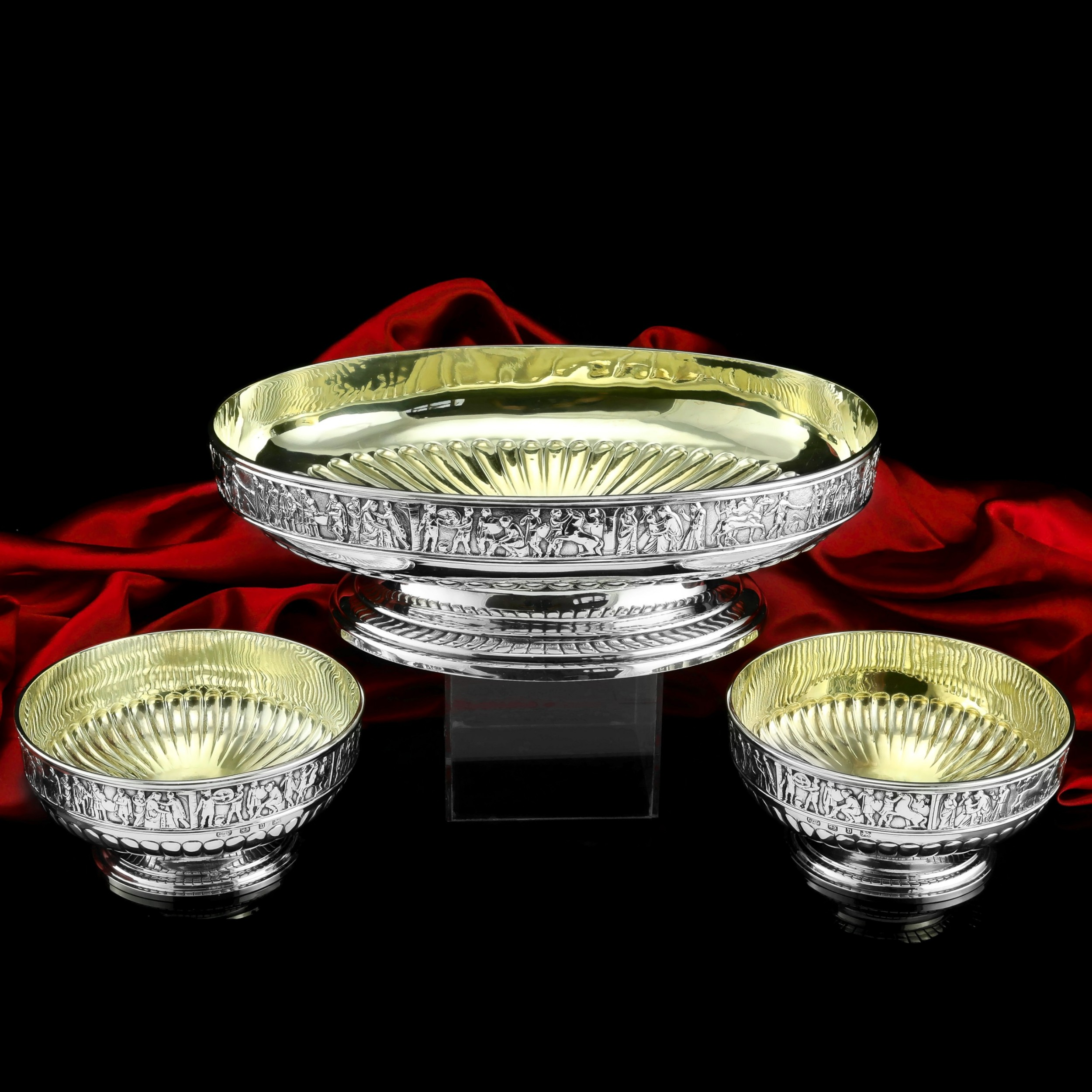 antique english large solid silver bowls set of 3 with roman frieze elkington co 1895
