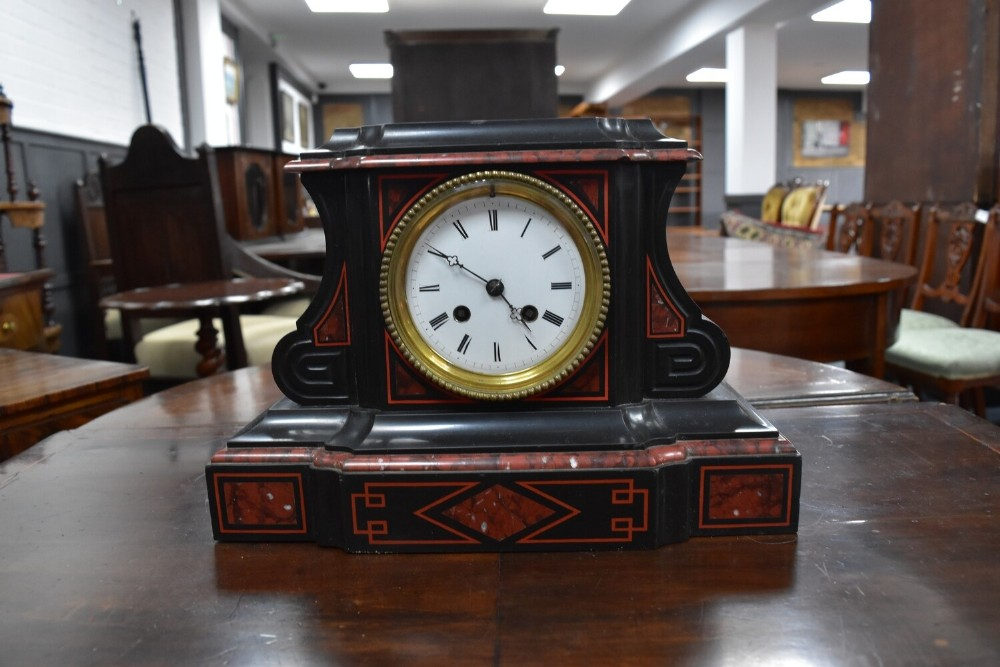 black marble 8 day movement mantle clock