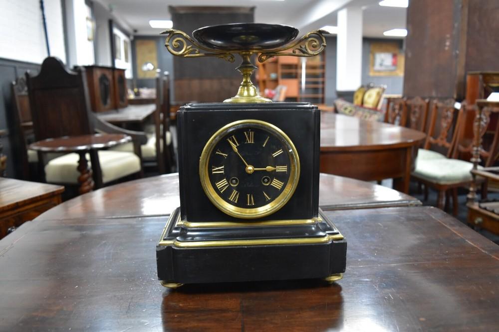 black marble mantle clock c1890s