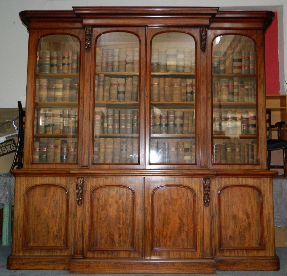 large mahogany breakfront bookcase
