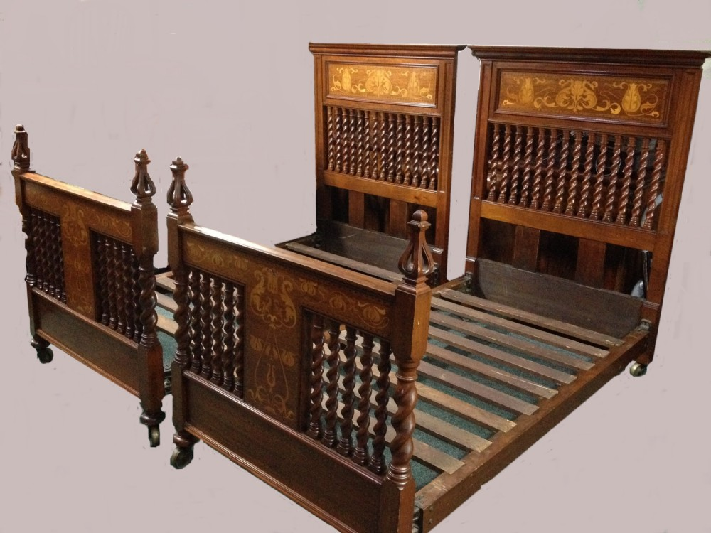 Antique pair of art nouveau arts and crafts beds from a for Arts and crafts beds