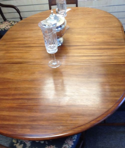 Antique Mahogany Extending Pull Out Dining Table On Turned Quadrapartite Base With Single Leaf ...