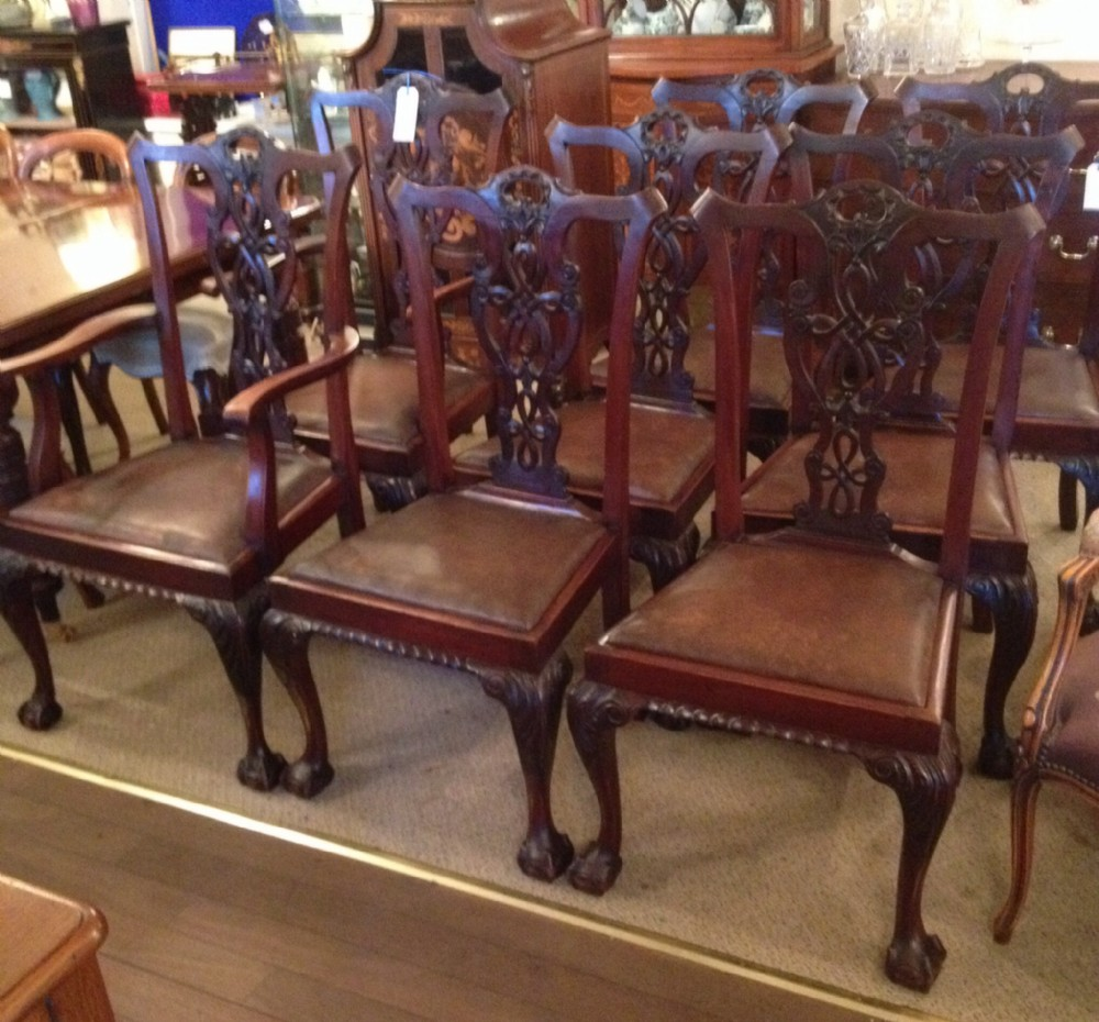 antique set of eight chippendale style mahogany dining chairs circa 1900 - Antique Set Of Eight Chippendale Style Mahogany Dining Chairs