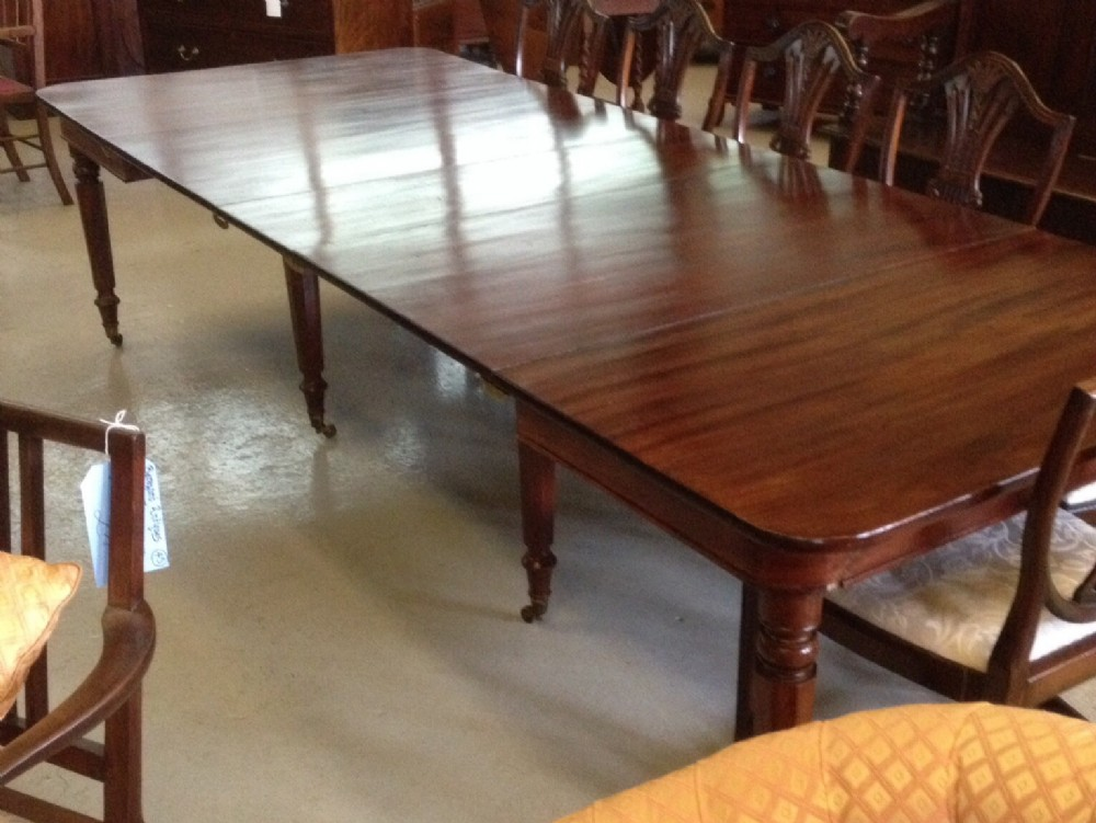 Late Georgian Pull Out Eight Legged 12 To 14 Seater Gany. Antique Dining  Room Table With Leaf ...