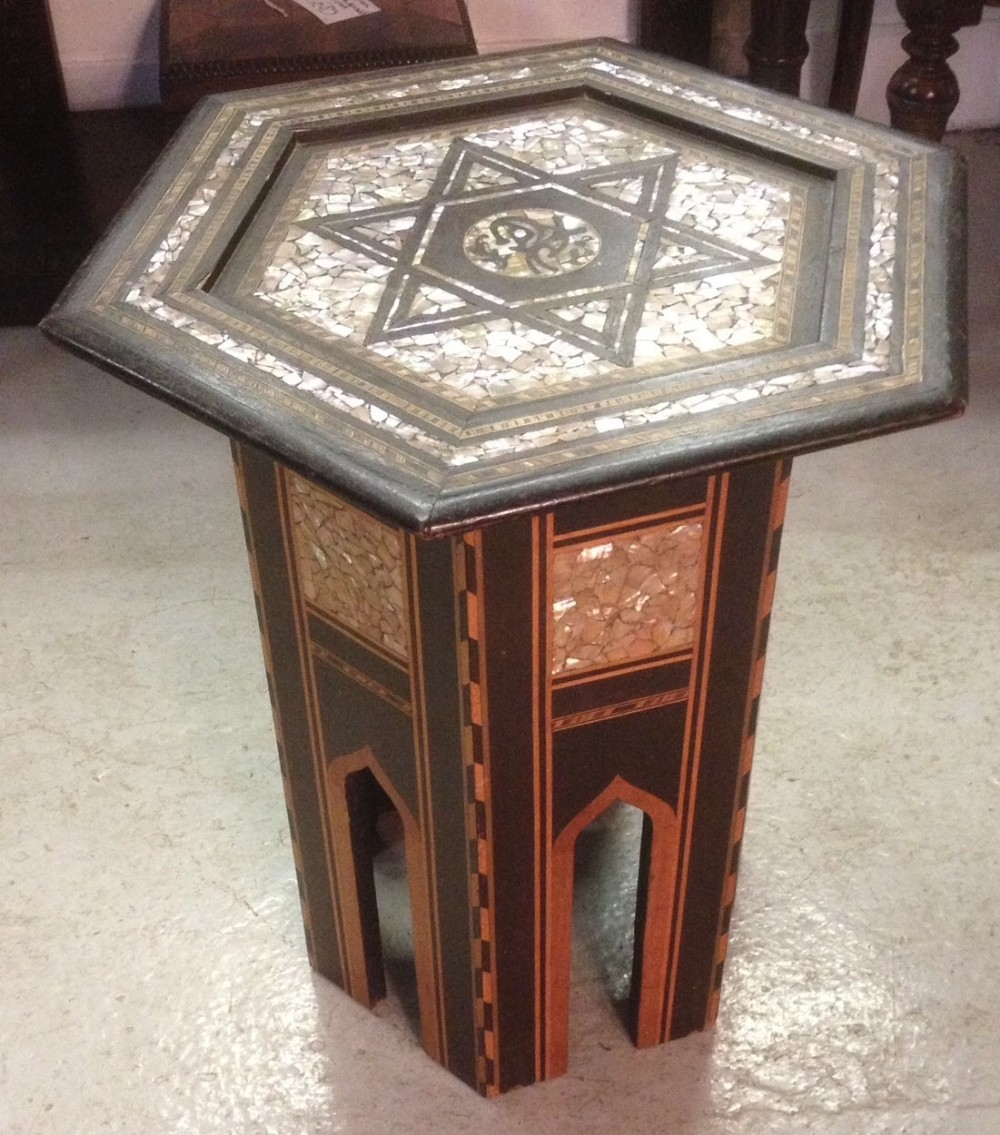 North African Table Inlaid With Mother Of Pearl