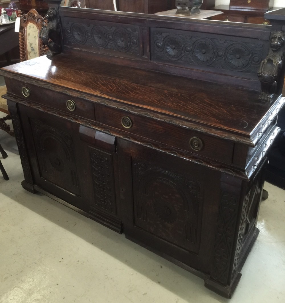 carved oak buffet sideboard in arts and crafts style