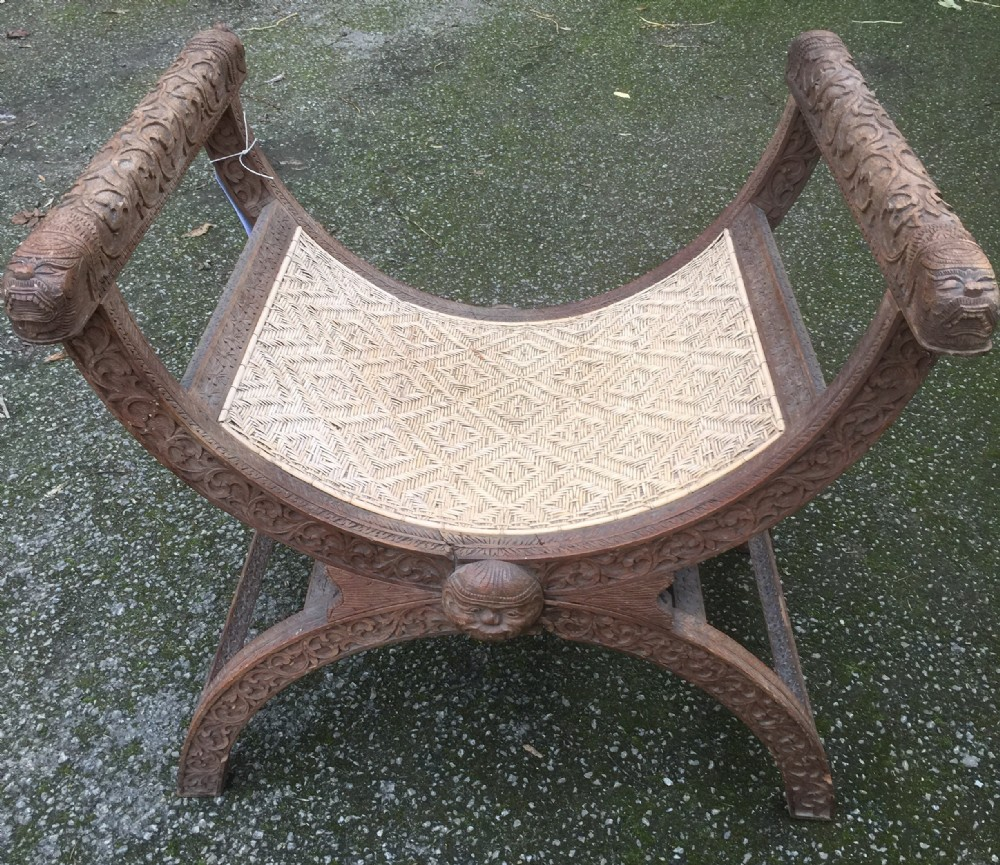 victorian carved x frame stool possibly burmese