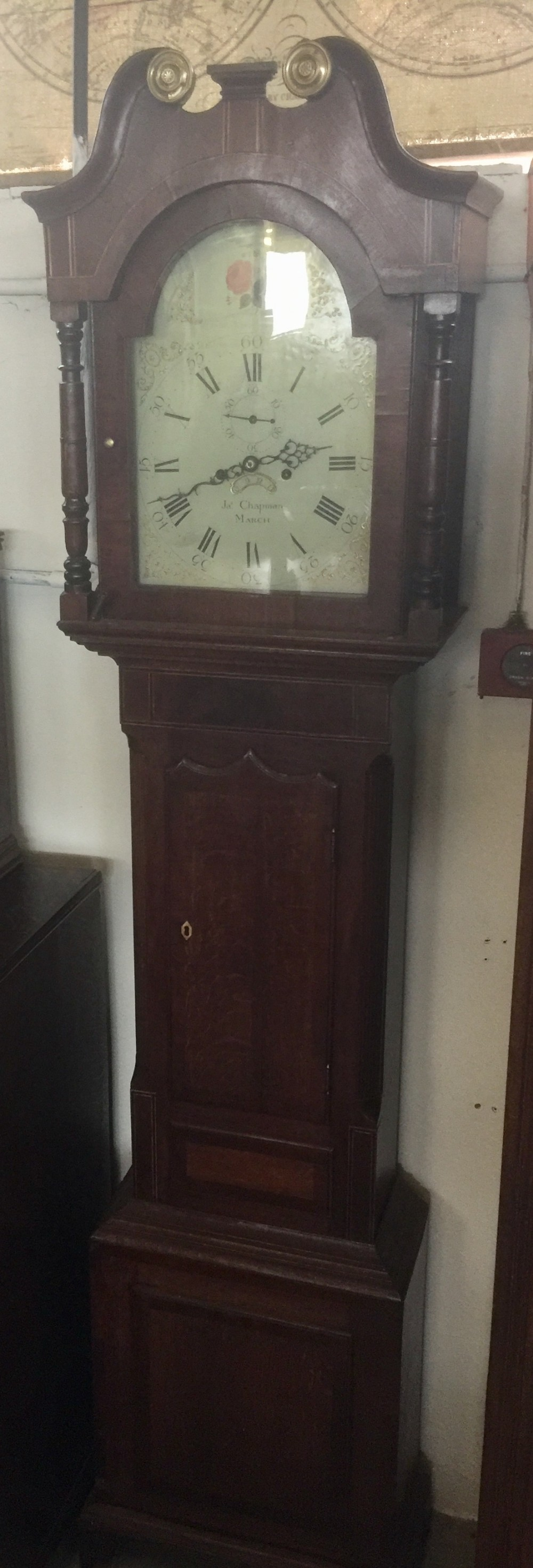 nineteenth century eight day inlaid oak long case clock by james chapman of march