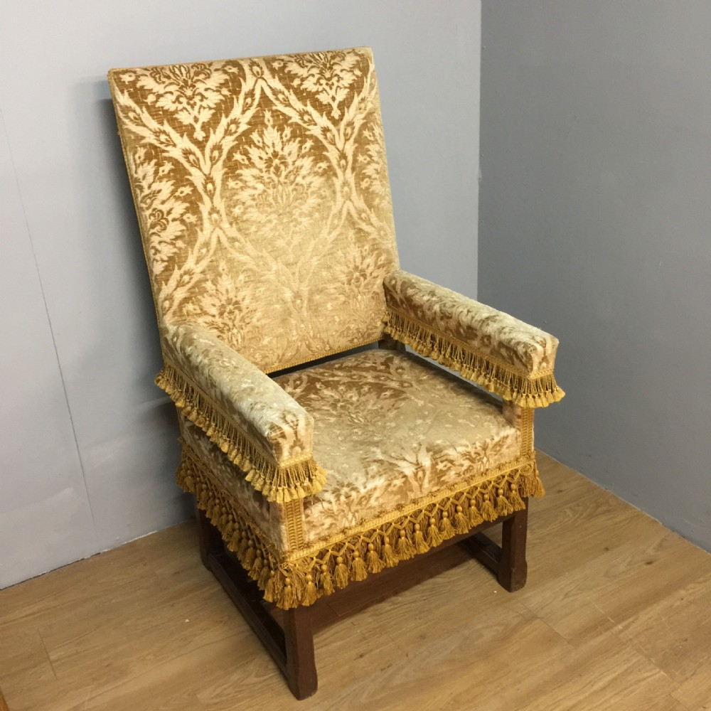 nineteenth century armchair in figured velvet