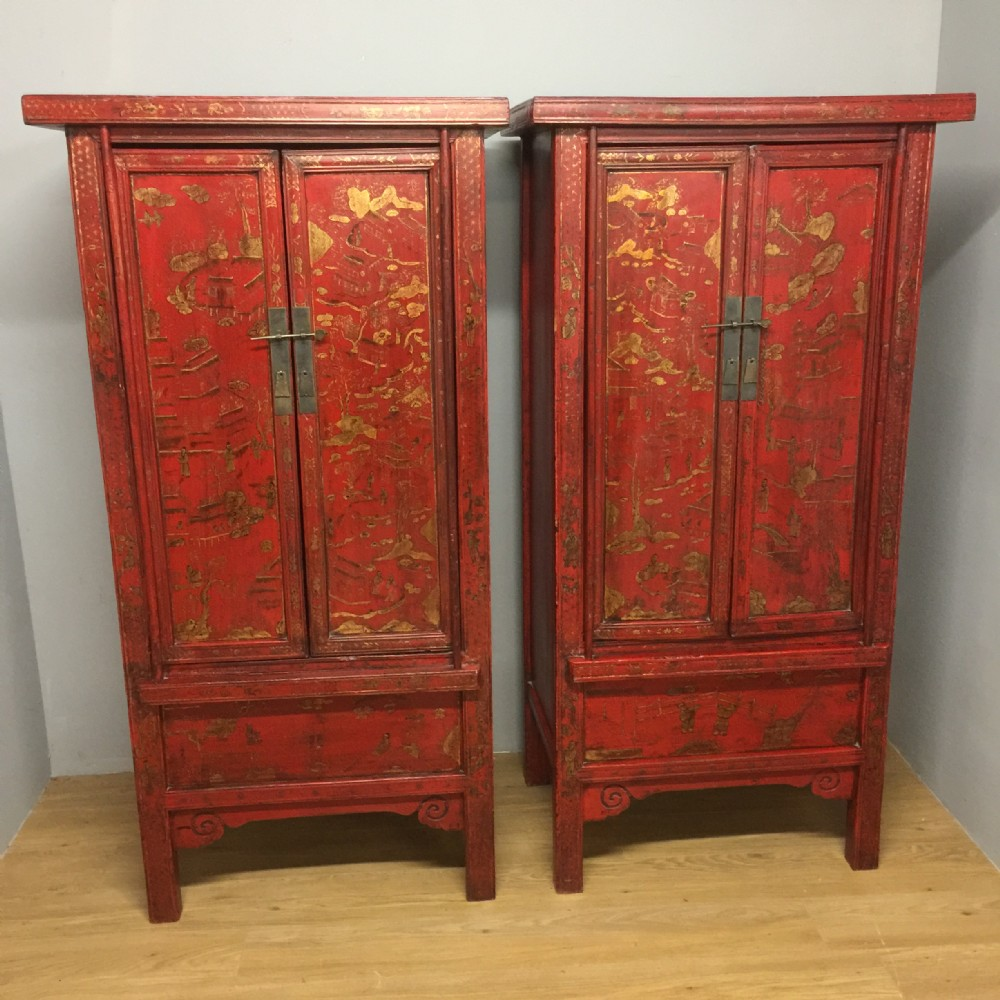 pair of red lacquer chinese wedding cabinets circa 1920