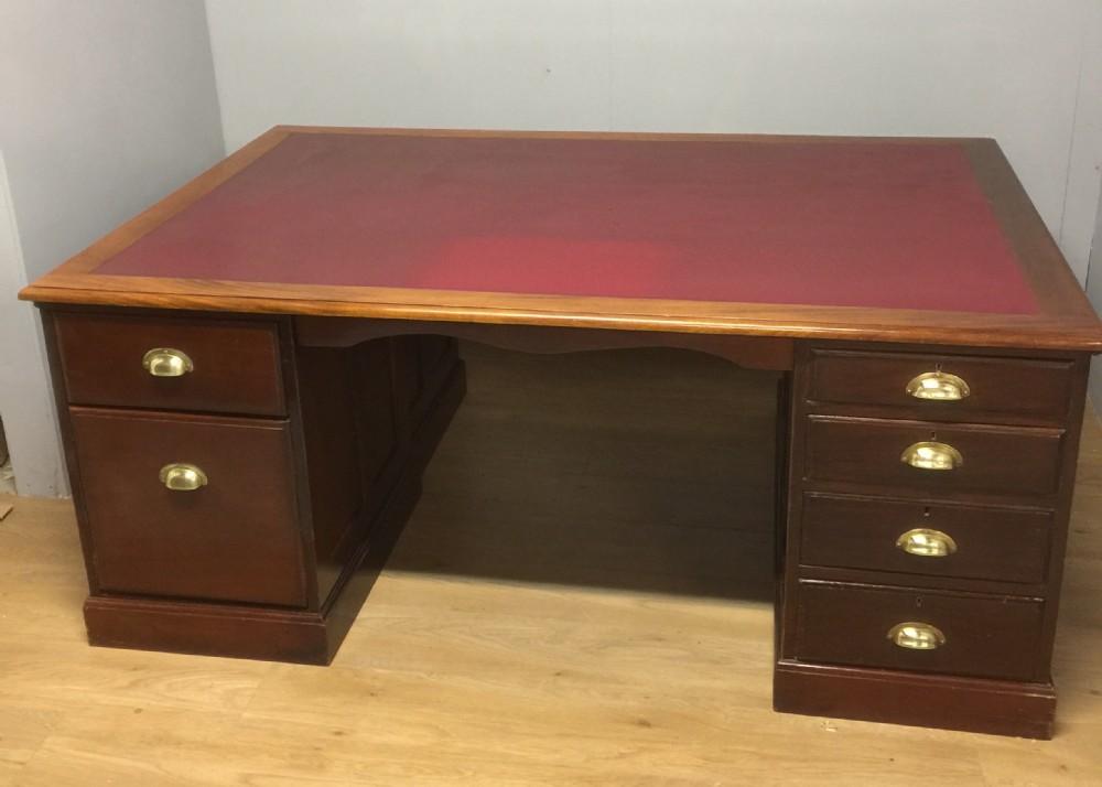 large edwardian mahogany partners desk