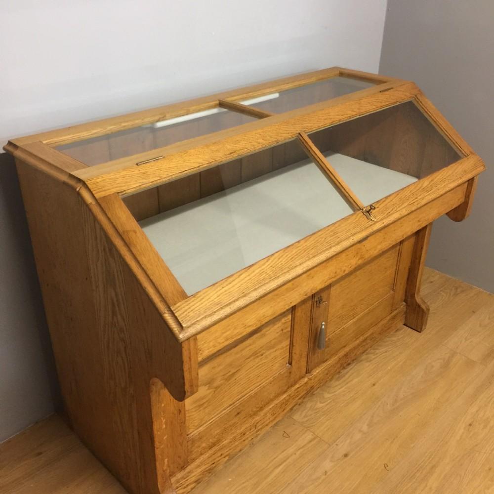 nineteenth century golden oak museum cabinet