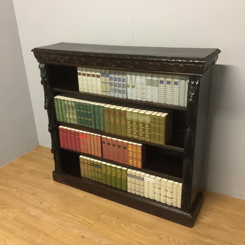 nineteenth century solid oak jacobean style adjustable open bookcase